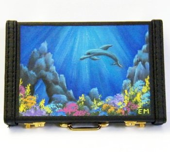 Business card holder dolphins underwater